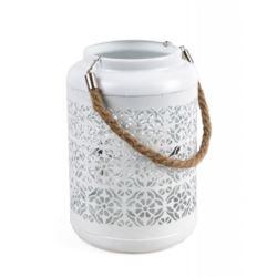 Metalowy lampion biały 20x20x22,5/40h